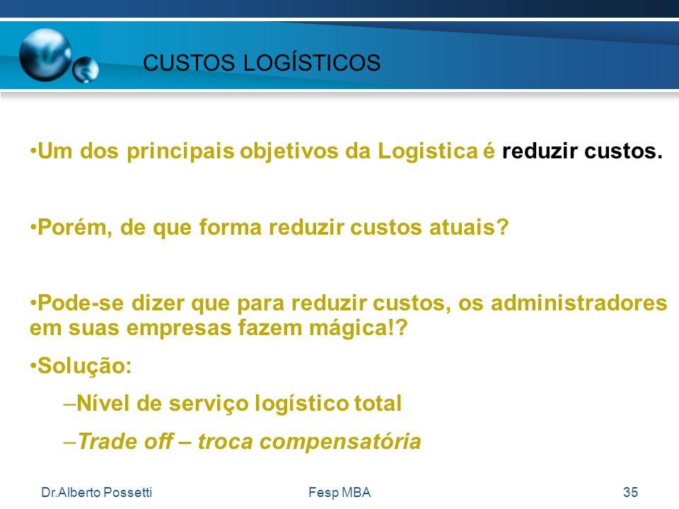 Um dos principais objetivos da Logistica é reduzir custos.