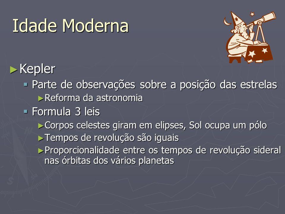 Idade Moderna Kepler Parte de observações sobre a posição das estrelas