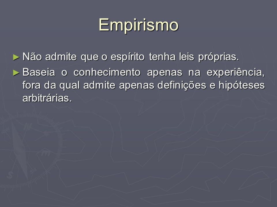 Empirismo Não admite que o espírito tenha leis próprias.