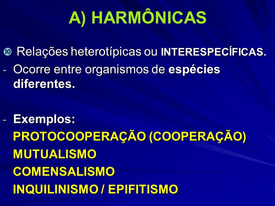 A) HARMÔNICAS Relações heterotípicas ou INTERESPECÍFICAS.