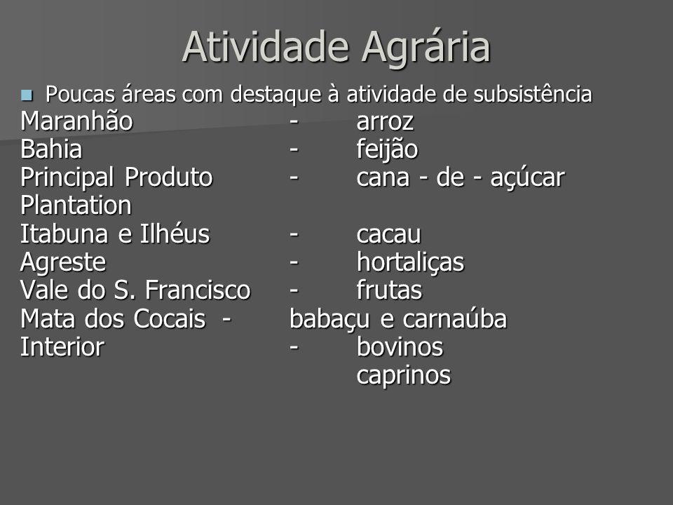 Atividade Agrária Maranhão - arroz Bahia - feijão