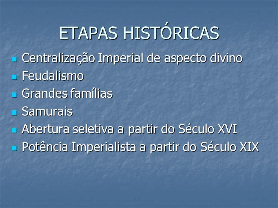 ETAPAS HISTÓRICAS Centralização Imperial de aspecto divino Feudalismo