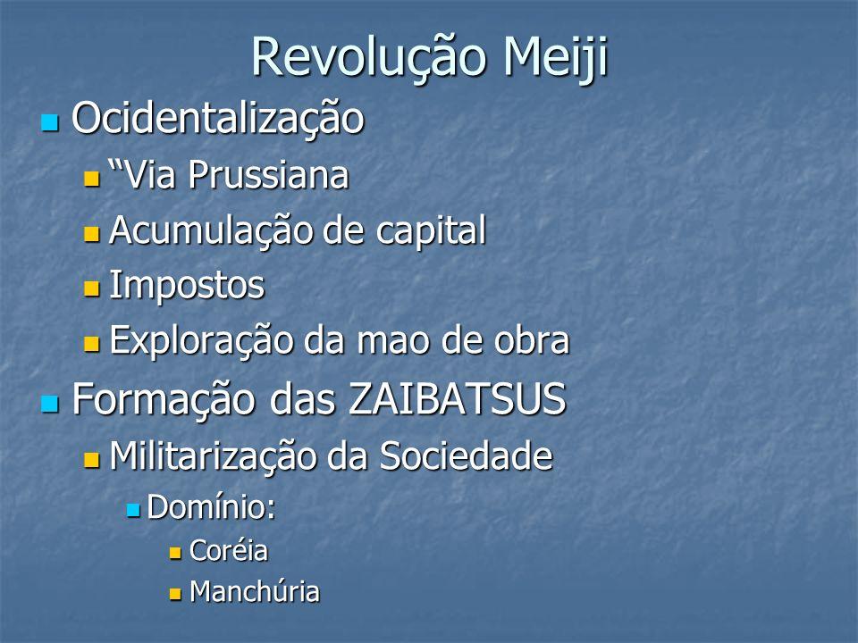 Revolução Meiji Ocidentalização Formação das ZAIBATSUS Via Prussiana
