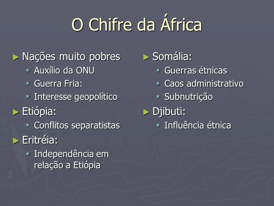 O Chifre da África Nações muito pobres Etiópia: Eritréia: Somália: