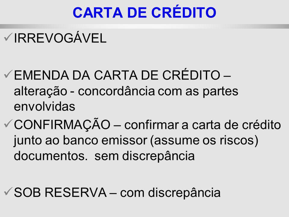 CARTA DE CRÉDITO IRREVOGÁVEL