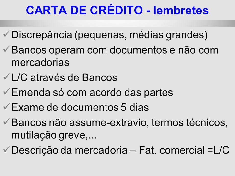 CARTA DE CRÉDITO - lembretes