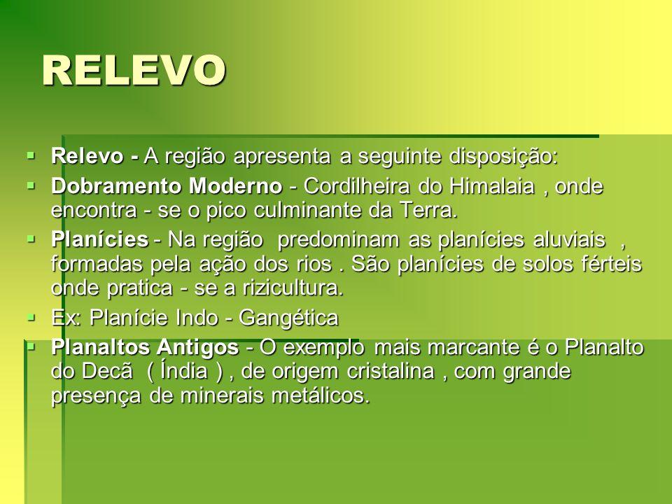 RELEVO Relevo - A região apresenta a seguinte disposição: