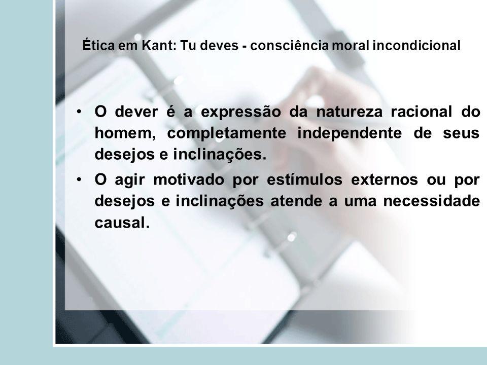 Ética em Kant: Tu deves - consciência moral incondicional
