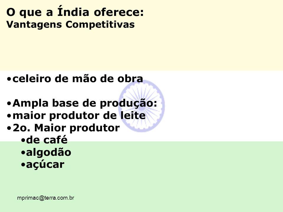 O que a Índia oferece: celeiro de mão de obra Ampla base de produção: