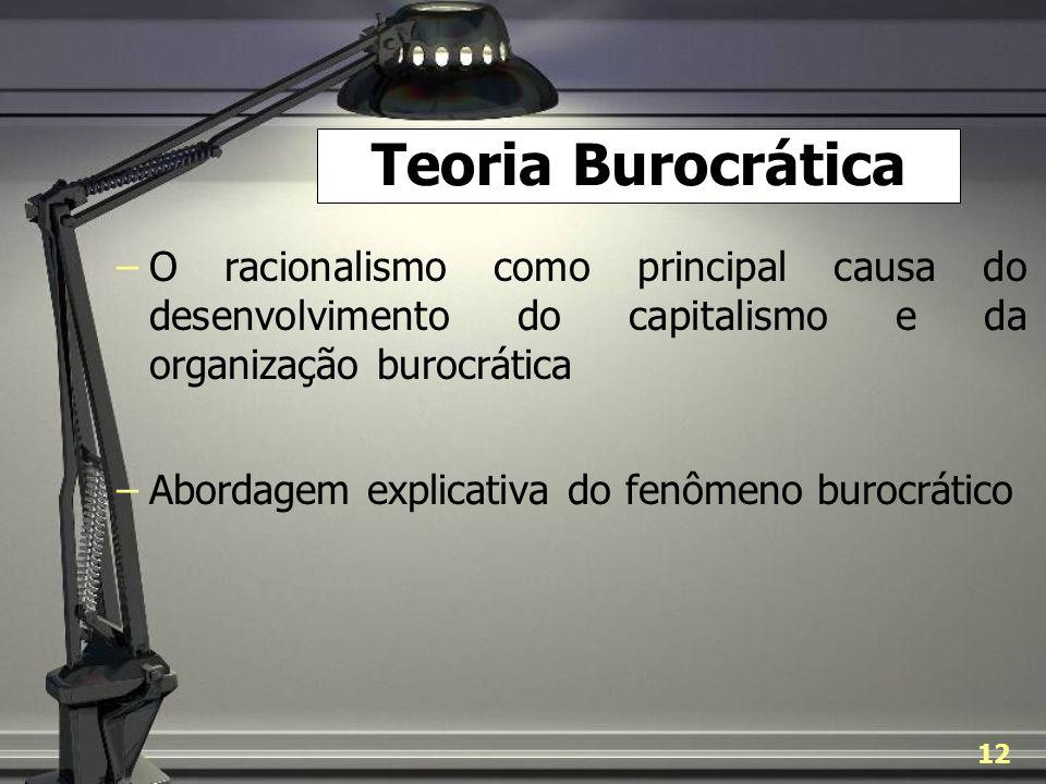 Teoria Burocrática O racionalismo como principal causa do desenvolvimento do capitalismo e da organização burocrática.