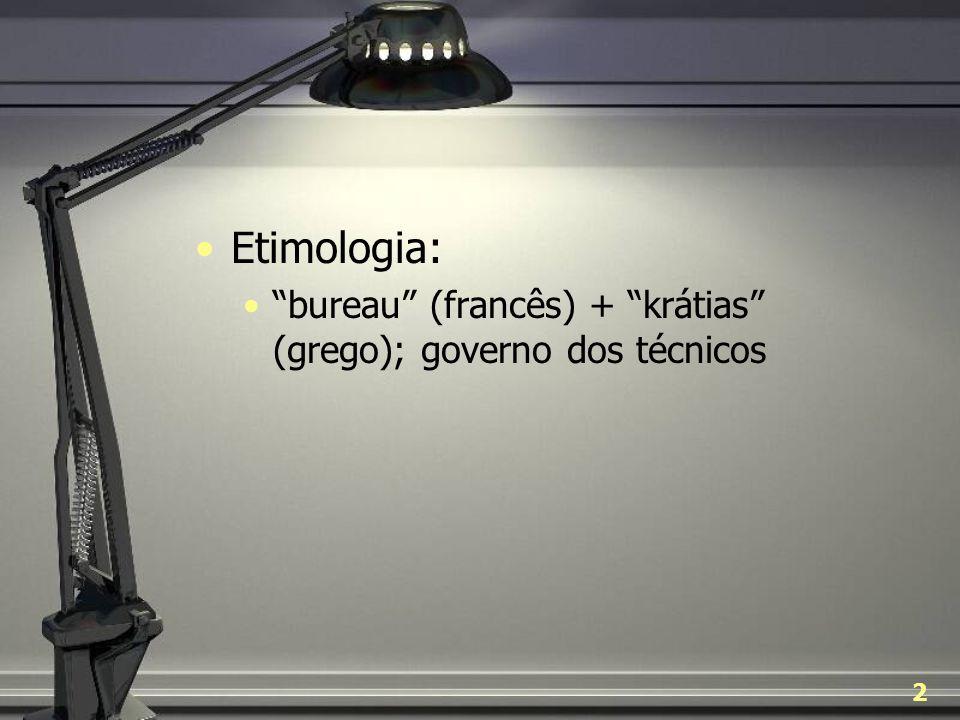 Etimologia: bureau (francês) + krátias (grego); governo dos técnicos