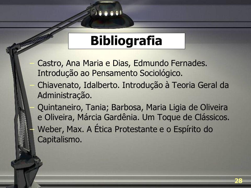 Bibliografia Castro, Ana Maria e Dias, Edmundo Fernades. Introdução ao Pensamento Sociológico.