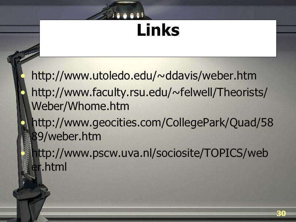 Links http://www.utoledo.edu/~ddavis/weber.htm