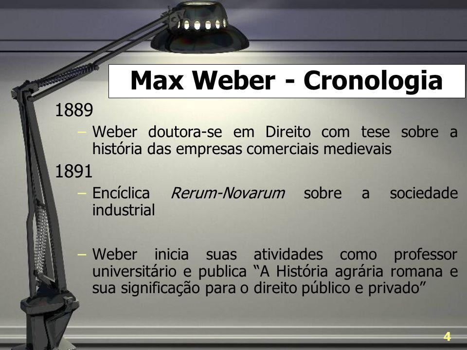 Max Weber - Cronologia 1889. Weber doutora-se em Direito com tese sobre a história das empresas comerciais medievais.