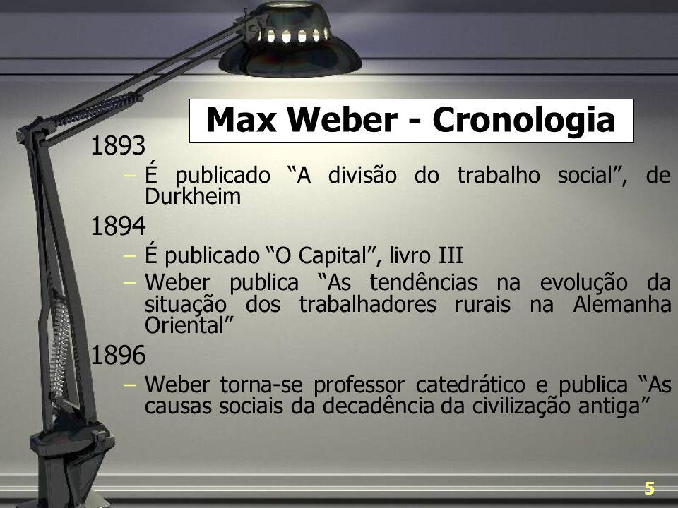 Max Weber - Cronologia 1893. É publicado A divisão do trabalho social , de Durkheim. 1894. É publicado O Capital , livro III.