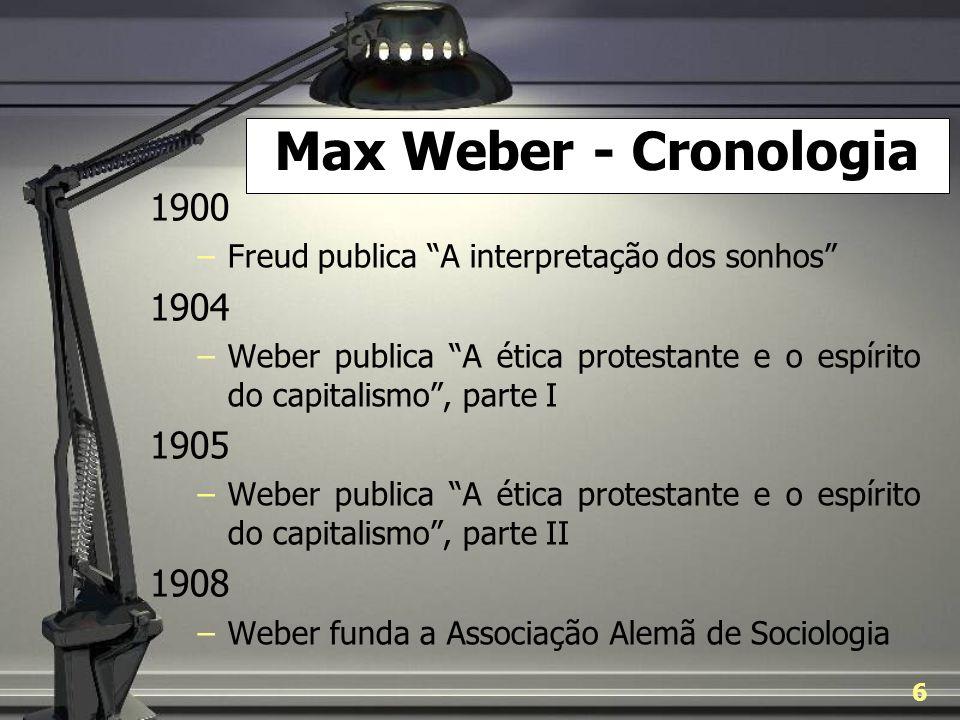 Max Weber - Cronologia 1900. Freud publica A interpretação dos sonhos 1904.