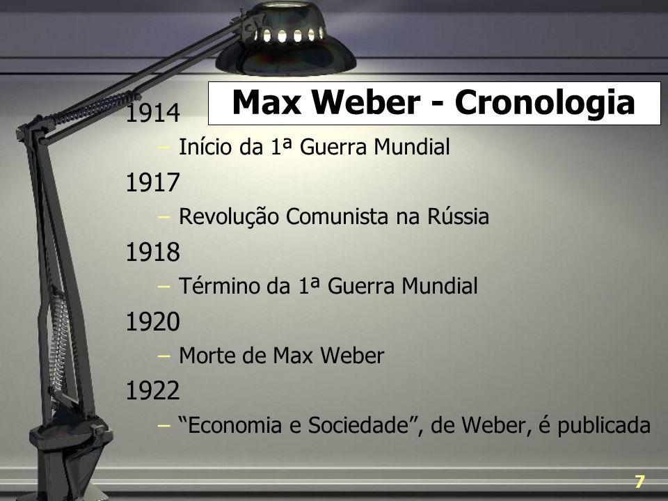 Max Weber - Cronologia1914. Início da 1ª Guerra Mundial. 1917. Revolução Comunista na Rússia. 1918.