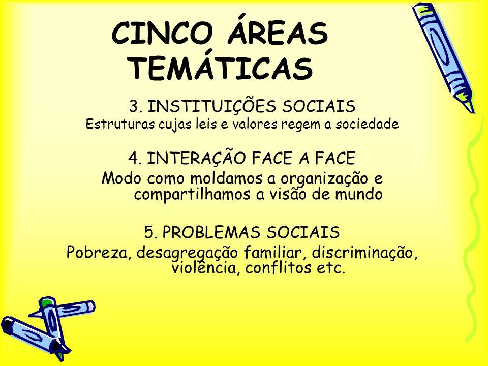 CINCO ÁREAS TEMÁTICAS 3. INSTITUIÇÕES SOCIAIS 4. INTERAÇÃO FACE A FACE