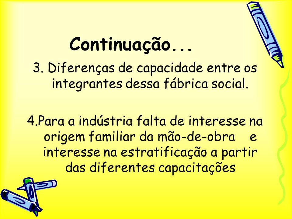 3. Diferenças de capacidade entre os integrantes dessa fábrica social.