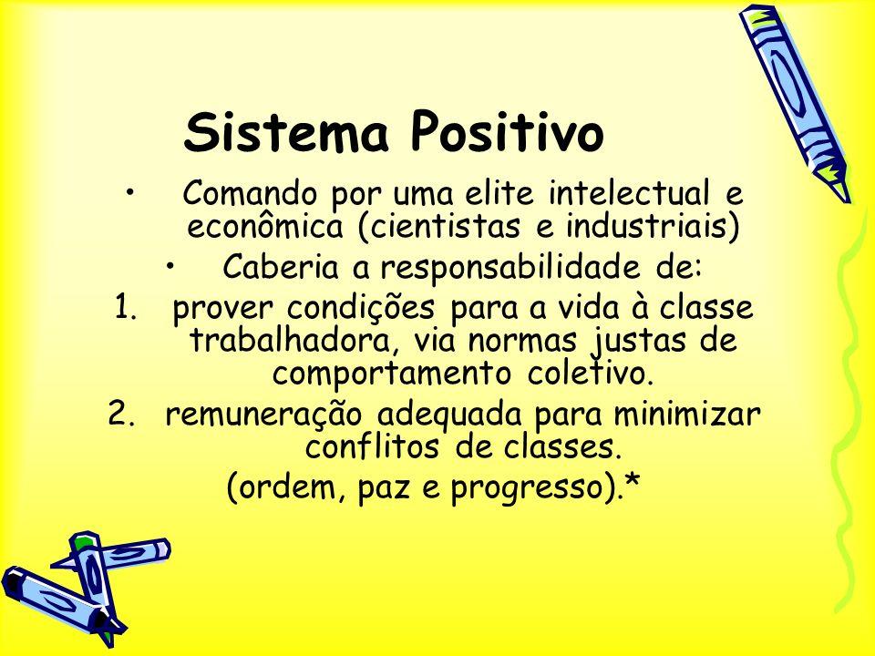 Sistema Positivo Comando por uma elite intelectual e econômica (cientistas e industriais) Caberia a responsabilidade de: