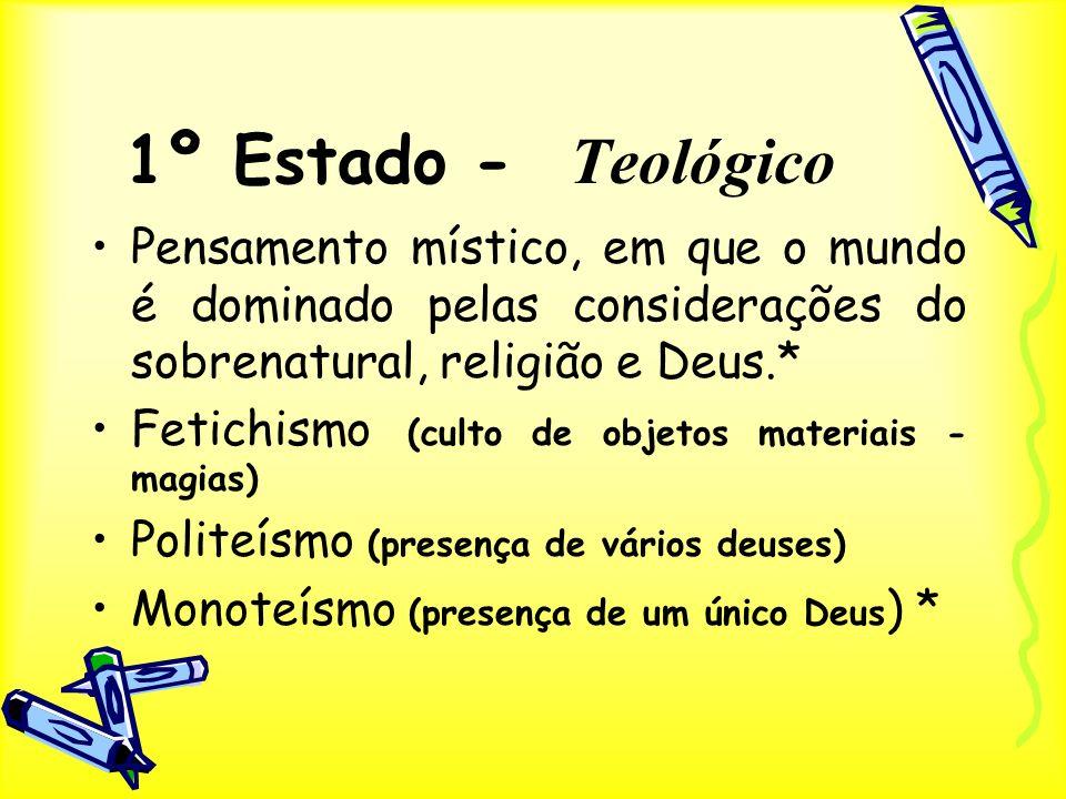 1º Estado - Teológico Pensamento místico, em que o mundo é dominado pelas considerações do sobrenatural, religião e Deus.*