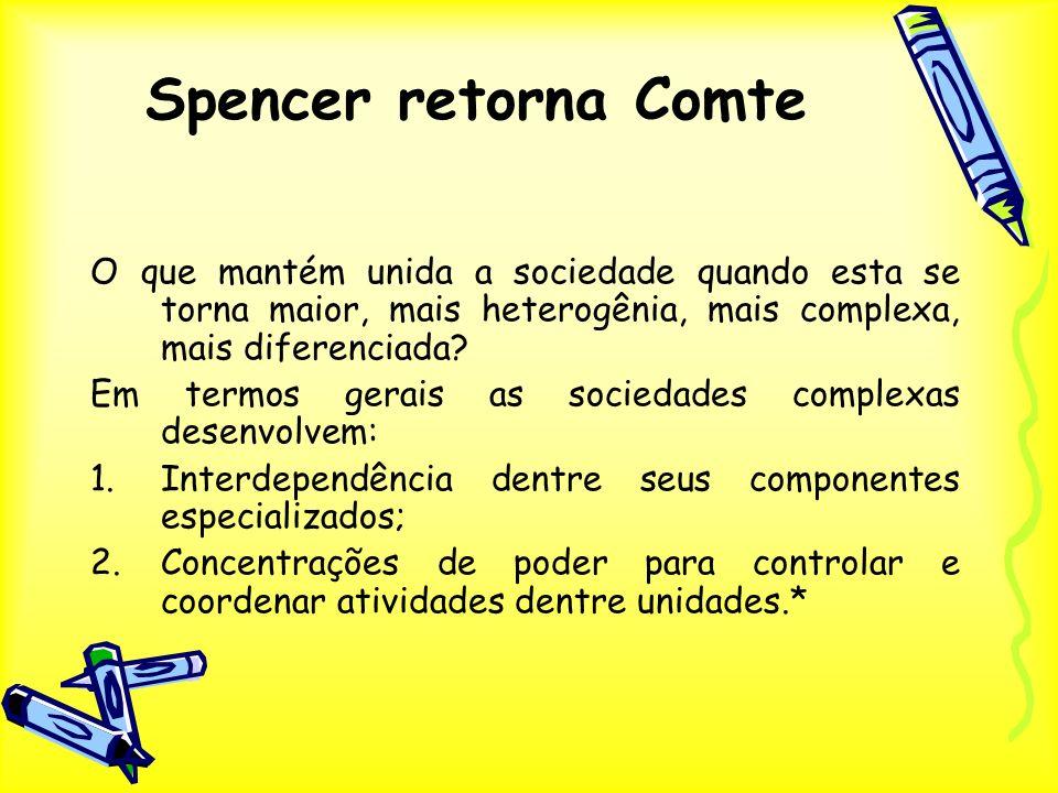 Spencer retorna Comte O que mantém unida a sociedade quando esta se torna maior, mais heterogênia, mais complexa, mais diferenciada