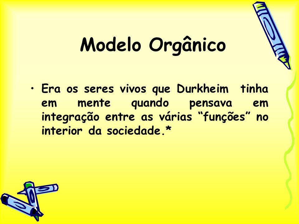 Modelo Orgânico Era os seres vivos que Durkheim tinha em mente quando pensava em integração entre as várias funções no interior da sociedade.*