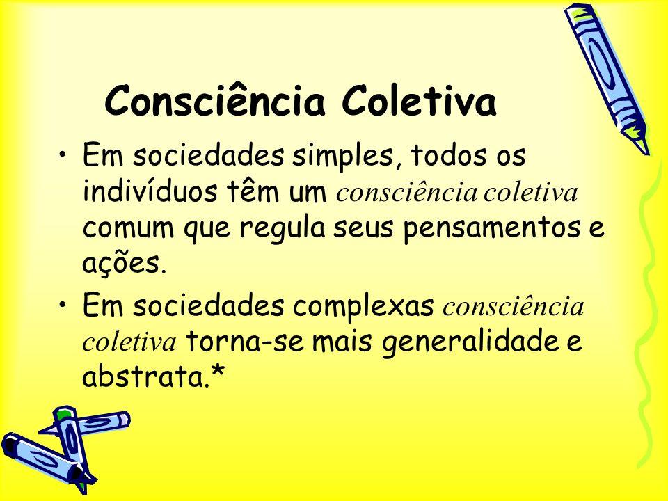 Consciência Coletiva Em sociedades simples, todos os indivíduos têm um consciência coletiva comum que regula seus pensamentos e ações.