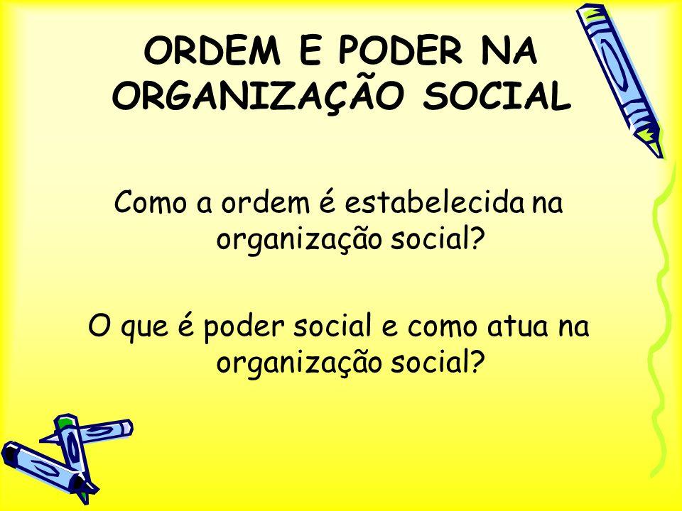 ORDEM E PODER NA ORGANIZAÇÃO SOCIAL