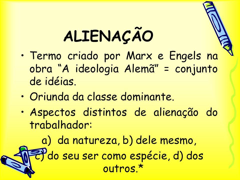 ALIENAÇÃO Termo criado por Marx e Engels na obra A ideologia Alemã = conjunto de idéias. Oriunda da classe dominante.