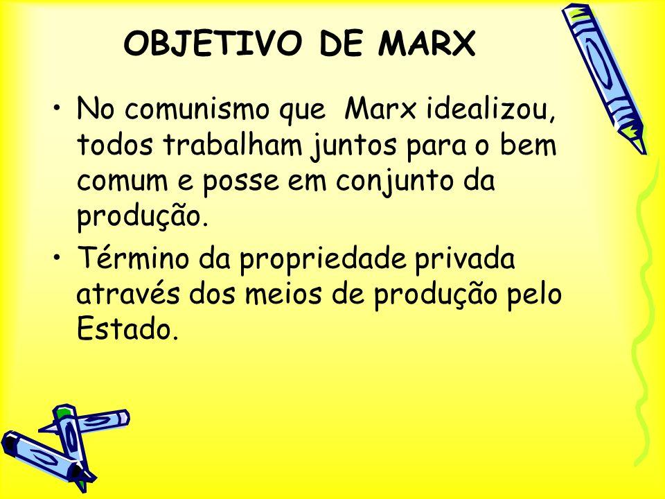 OBJETIVO DE MARX No comunismo que Marx idealizou, todos trabalham juntos para o bem comum e posse em conjunto da produção.