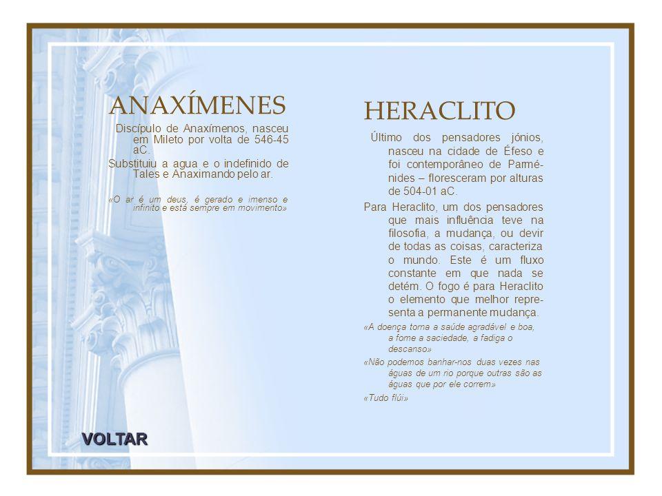 ANAXÍMENES HERACLITO VOLTAR