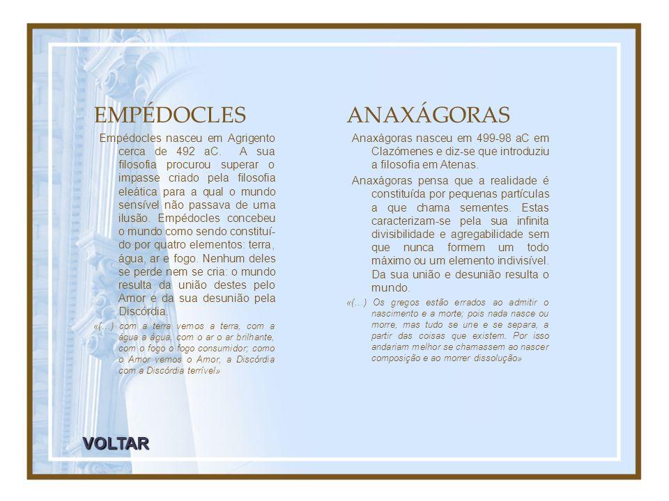 EMPÉDOCLES ANAXÁGORAS VOLTAR