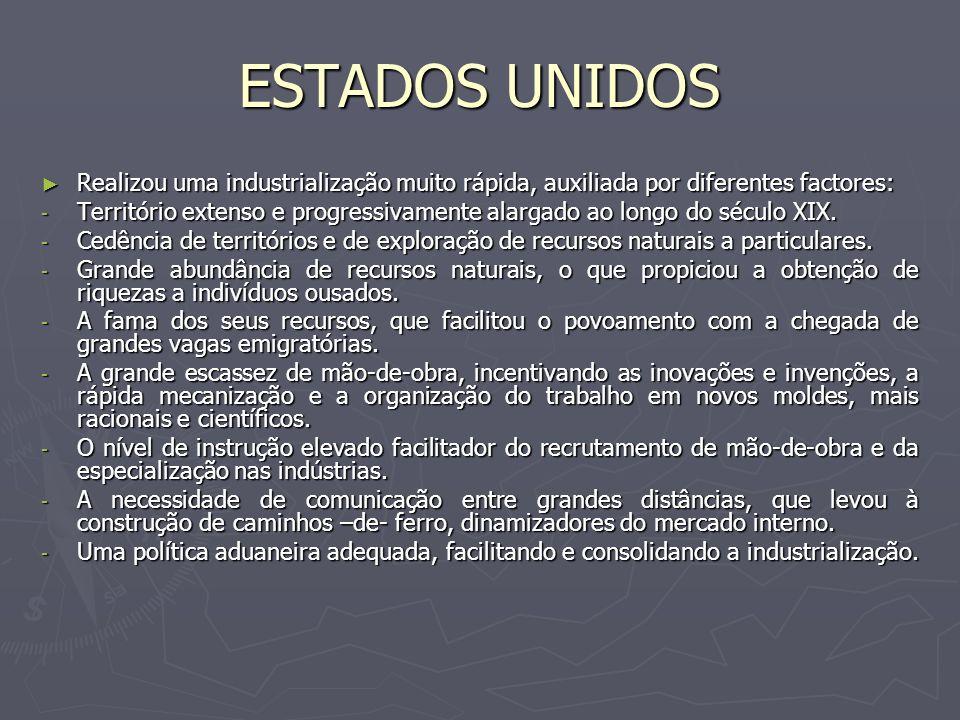 ESTADOS UNIDOS Realizou uma industrialização muito rápida, auxiliada por diferentes factores: