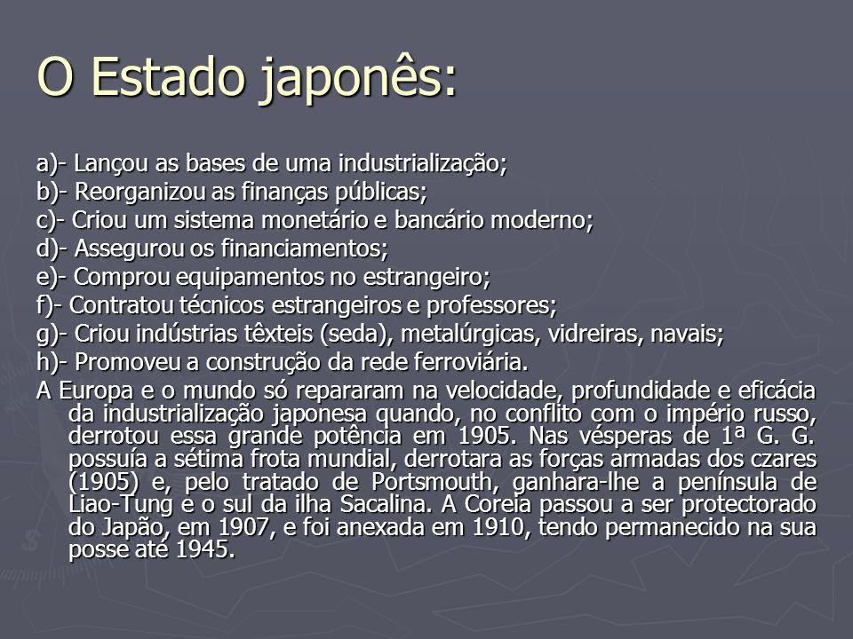O Estado japonês: a)- Lançou as bases de uma industrialização;