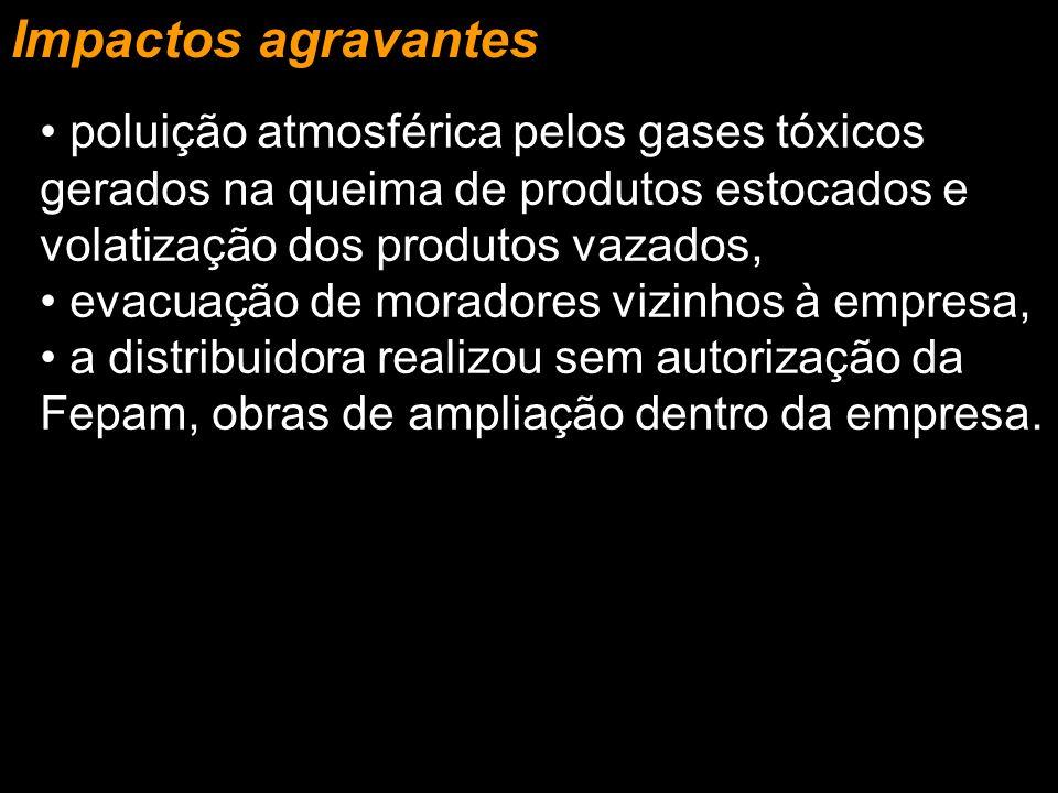 Impactos agravantes poluição atmosférica pelos gases tóxicos gerados na queima de produtos estocados e volatização dos produtos vazados,