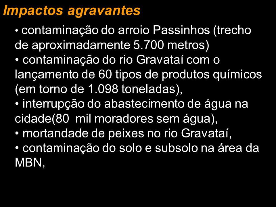 Impactos agravantes contaminação do arroio Passinhos (trecho de aproximadamente 5.700 metros)