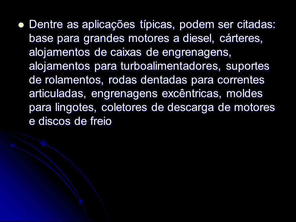 Dentre as aplicações típicas, podem ser citadas: base para grandes motores a diesel, cárteres, alojamentos de caixas de engrenagens, alojamentos para turboalimentadores, suportes de rolamentos, rodas dentadas para correntes articuladas, engrenagens excêntricas, moldes para lingotes, coletores de descarga de motores e discos de freio