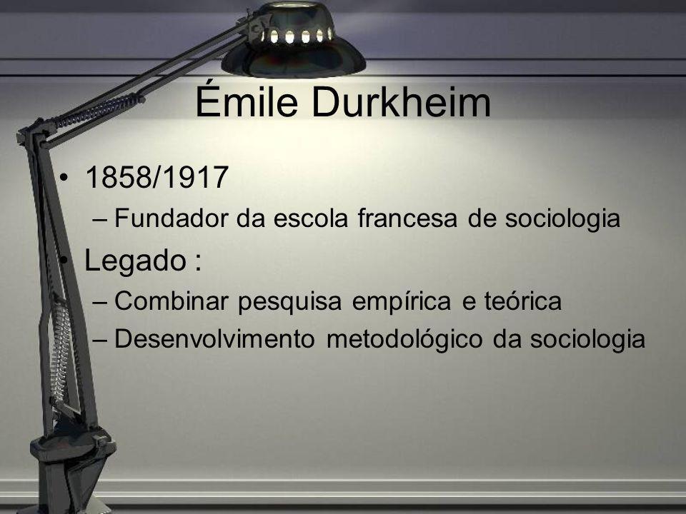 Émile Durkheim 1858/1917 Legado :