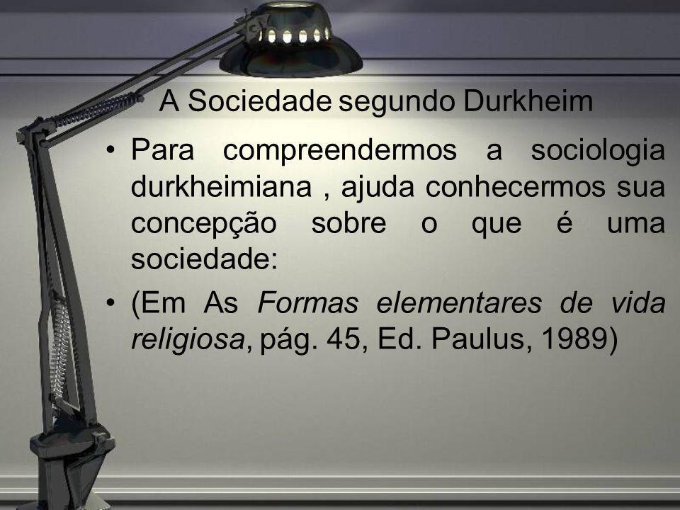 A Sociedade segundo Durkheim