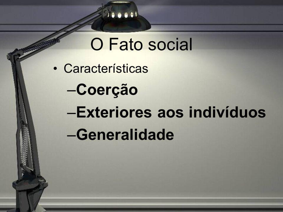 O Fato social Coerção Exteriores aos indivíduos Generalidade