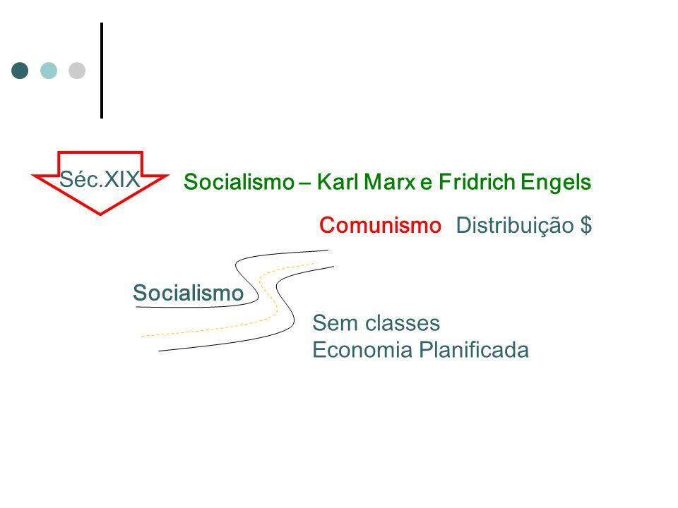 Séc.XIX Socialismo – Karl Marx e Fridrich Engels. Comunismo. Distribuição $ Socialismo. Sem classes.