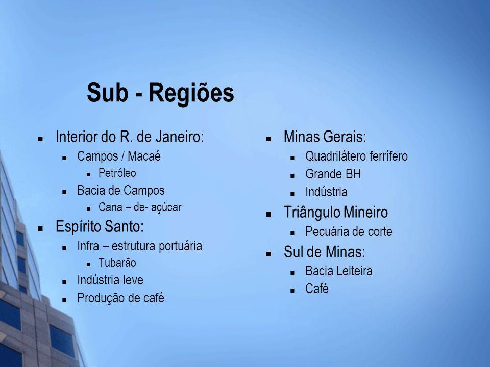 Sub - Regiões Interior do R. de Janeiro: Espírito Santo: Minas Gerais:
