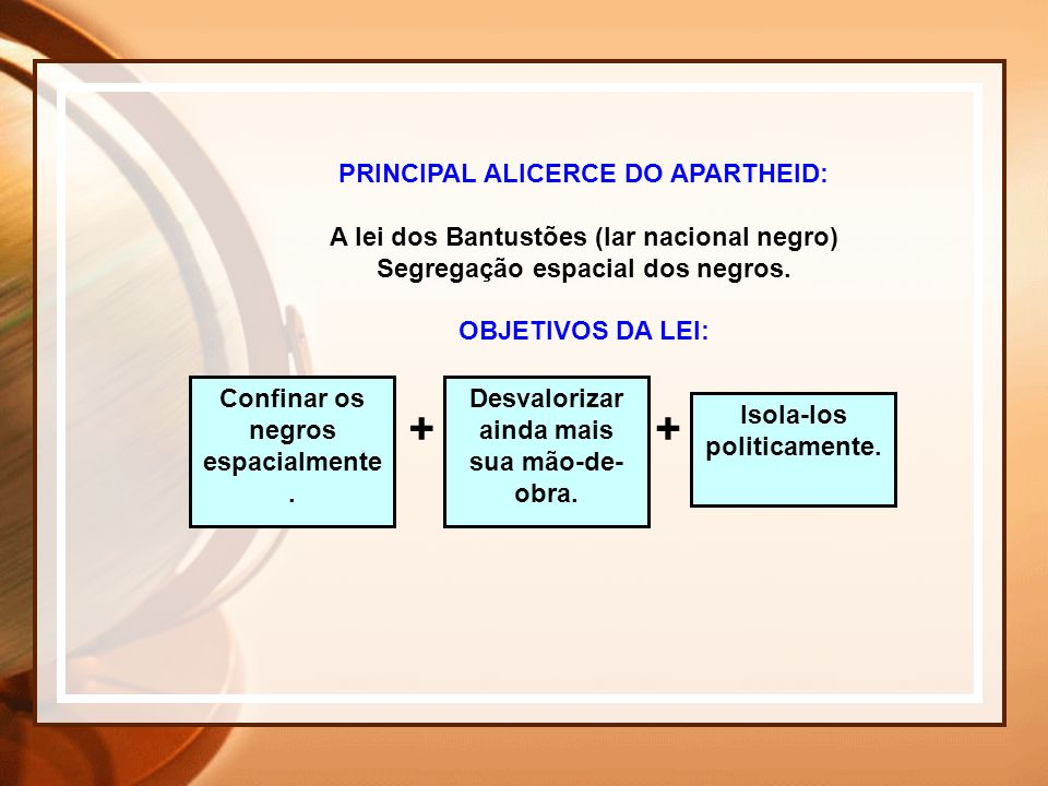 + PRINCIPAL ALICERCE DO APARTHEID: