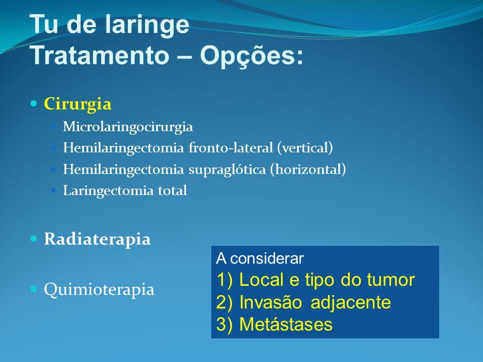 Tu de laringe Tratamento – Opções: Local e tipo do tumor