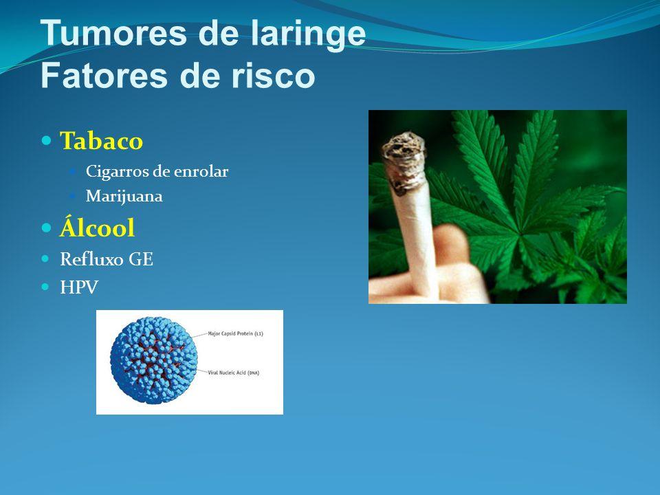 Tumores de laringe Fatores de risco Tabaco Álcool Refluxo GE HPV