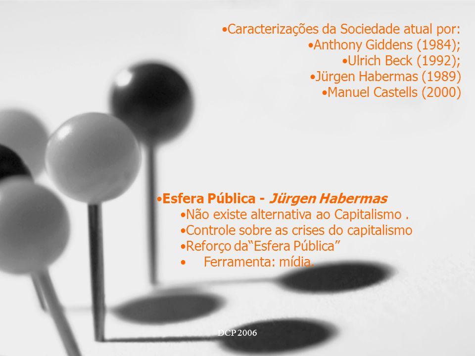 Caracterizações da Sociedade atual por: Anthony Giddens (1984);