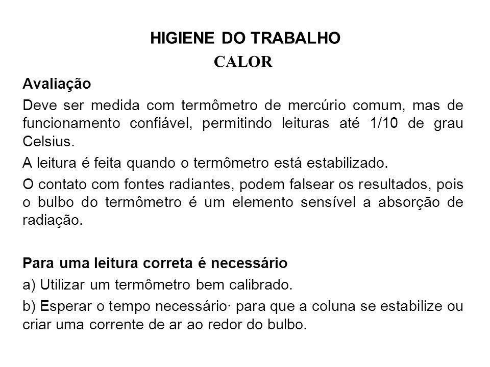 HIGIENE DO TRABALHO CALOR. Avaliação.