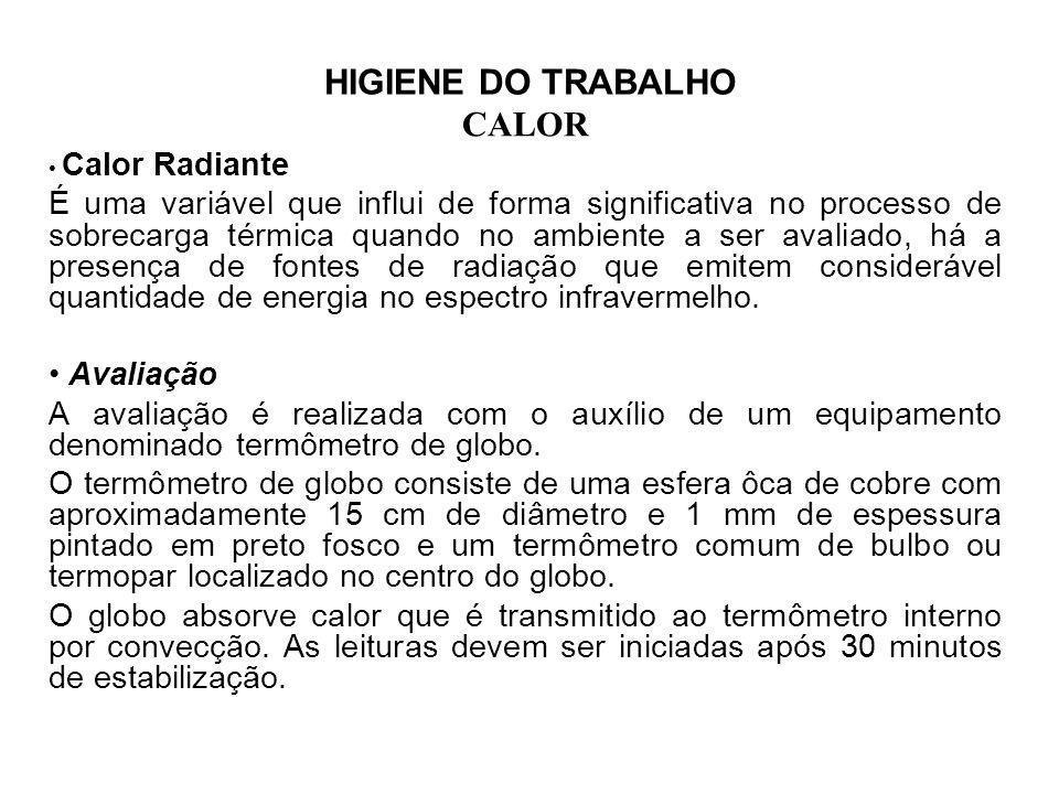 HIGIENE DO TRABALHO CALOR. Calor Radiante.