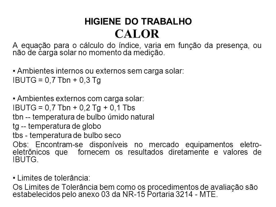 CALOR HIGIENE DO TRABALHO